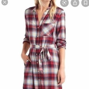 Gap Pendleton plaid flannel belted dress M L avail